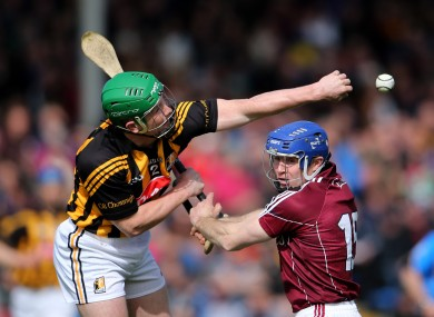 Kilkenny's Paul Murphy and Damien Hayes of Galway.