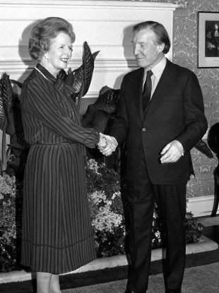 Charles Haughey, the then-Taoiseach, who arrived in London meeting Margaret Thatcher at 10 Downing Street for talks about Northern Ireland.