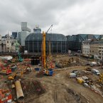 General view of the Bloomberg Place construction site where archaeologists have discovered thousands of Roman artifacts. (Image: Dominic Lipinski/PA Wire)