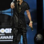 Justin Bieber continued his performance piece 'Dressing Up Like Kanye West'.  Chris Pizzello/Invision/AP