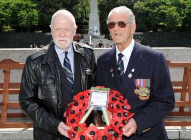 Peter Mulvaney of the 'Irish Soldiers Pardons Campaign' and former POW Peter Callan, pictured in 2012. The Oireachtas will complete its scrutiny of legislation to pardon Irish fighters who sided with the Allies in WW2 today.
