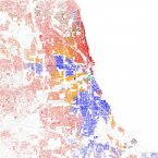 Chicago's  black-white dissimilarity score is 75.9, according to a study of 2010 Census data by professors John Logan and Brian Stults of Brown and Florida State University. A score above 60 on the dissimilarity index is considered very high segregation. The red dots show white people, blue is black, orange is Hispanic, green is Asian, and yellow is other, according to maps of 2010 Census data by Eric Fischer.