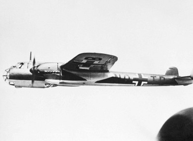 A German Dornier DO 215, similar to the DO 17 which is being raised from the English Channel