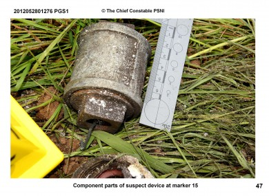 One of the grenades seized at from the car