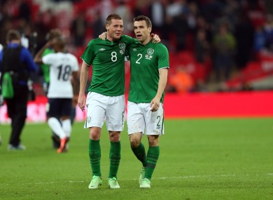 Ireland's James McCarthy and Seamus Coleman after the game.