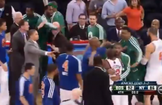 The Knicks and Celtics got into a post-game dust-up, after an apparent 'your wife' comment