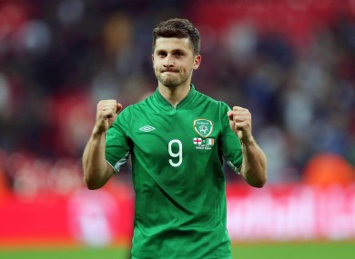 Shane Long celebrates after the game.