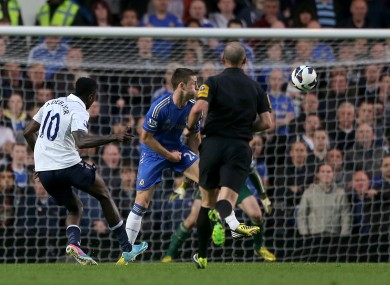 Tottenham Hotspur's Emmanuel Adebayor scores his team's first goal.