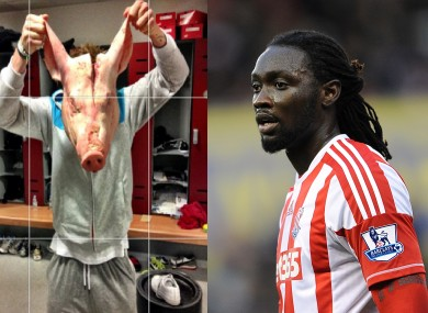 The pig's head that was found in the locker of Kenwyne Jones (right).