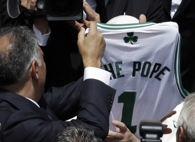 The Boston Celtics shirt presented to Pope Francis.