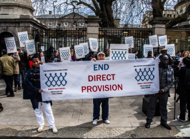 File: A protest held earlier this year by the Irish Refugee Council