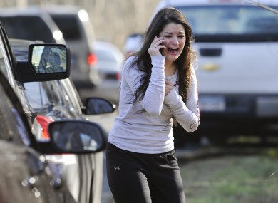 Jillian Soto screams down the phone after finding out her sister, Victoria Soto, a teacher at the Sandy Hook school was killed.