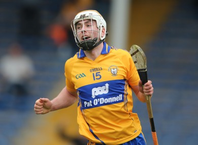 Clare's Conor McGrath celebrates after scoring a goal.