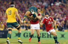 Rugby bully George North lifts Folau onto his shoulders and takes him for a ride