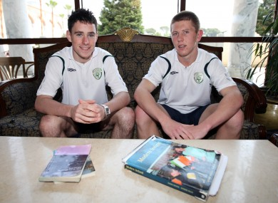 Ireland's Greg Cunningham and John Sullivan study for their Leaving during the U17 European Championships in 2008.
