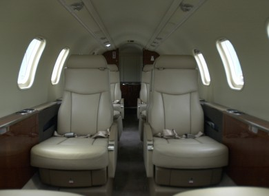 The inside of the Government's Learjet