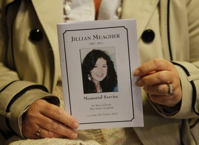 The mass card from a memorial service held for Jill in Drogheda last October