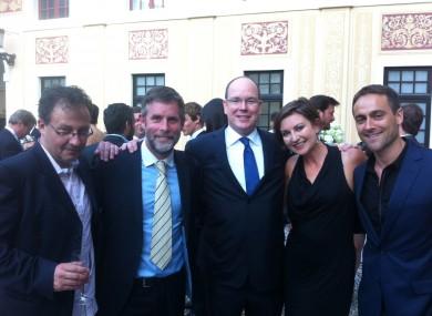 left to right Steve Matthews, David Caffrey, Prince Albert of Monaco, Suzanne McAuley and Stuart Townsend.