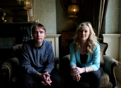 Sarah McGuinness and James Burke of Terminations for Medical Reasons (TFMR) in Buswells Hotel, Dublin, after the press conference that outlined the details of an amendment to The Protection of Life During Pregnancy Bill 2013.