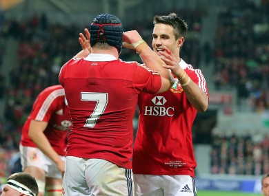 Conor Murray (r) celebrates with Sean O'Brien after the flanker's try.