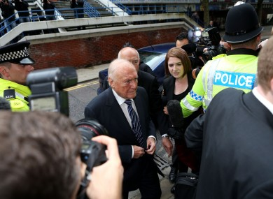 Stuart Hall arrives at Preston Crown Court earlier today.