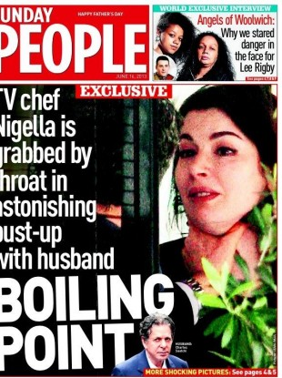 The Sunday People published photographs showing Charles Saatchi with his hand around the neck of his wife, TV chef Nigella Lawson.