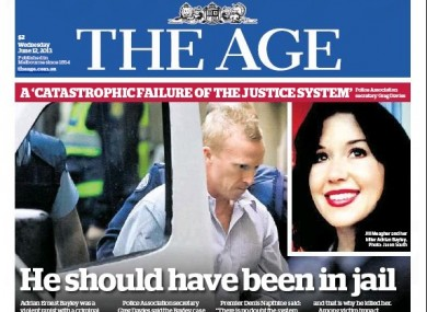 The front page of today's 'The Age' newspaper in Australia