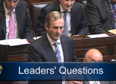 Enda Kenny speaking during Leader's Questions today.