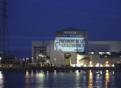 A projection by activists at the plant today.