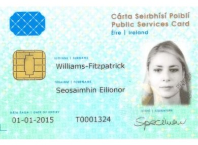 A sample Public Services Card