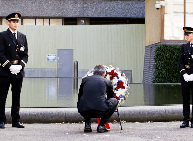 Norwegian Prime Minister, Jens Stoltenberg, centre, attends a wreath laying ceremony