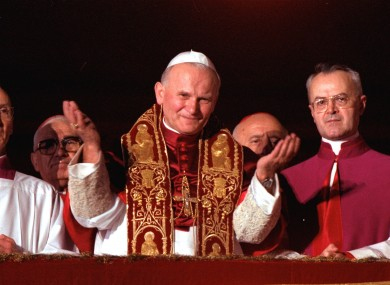Pope John Paul II blessing the faithful in St. Peter's Square right after he was named Pontiff in 1978.