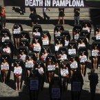 Anti-bullfighting demonstrators. (AP Photo/Alvaro Barrientos)