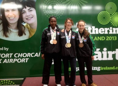 Donna O'Mahony (middle) and her two World Championship medals.