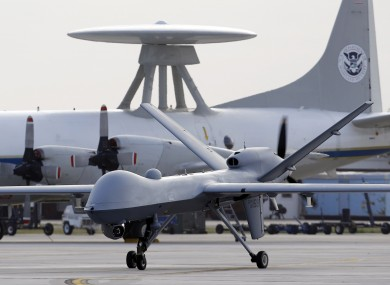 File photo of a Predator B unmanned aircraft taxis at the Naval Air Station in Corpus Christi, Texas