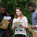 Pacha Kitata, Melanie Smith and Samuel Sonowo from Ringsend College pictured look relieved after receieving their Leaving Cert results. Photo: Laura Hutton/Photocall Ireland