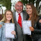 Nicole Collopy (left) and Helena Lawless from Ringsend College with Minister for Education Ruairi Quinn. Photo: Laura Hutton/Photocall Ireland