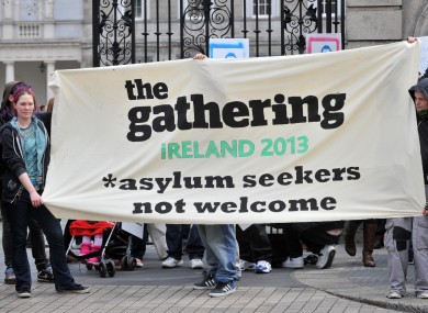Human rights campaigners calling for an end to institutional living for asylum seekers in April this year
