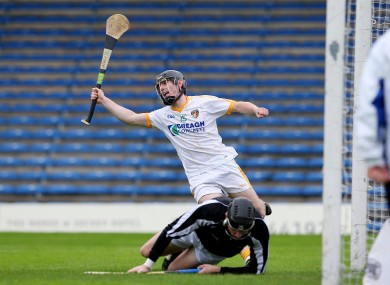 Ciaran Clarke celebrates scoring a goal for Antrim in their shock win over Wexford today.