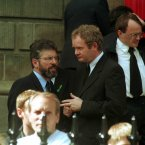 Sinn Fein President Gerry Adams and Martin Mc Guinness during the rememberance service. Pic Photocall Ireland