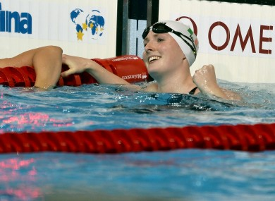 Ireland's Fiona Doyle celebrates qualifying for the semi-final of the Women's 50m Breaststroke.