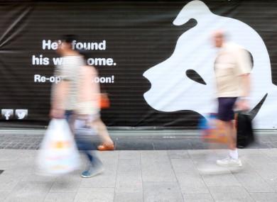 The HMV 'teaser' banner on Henry Street