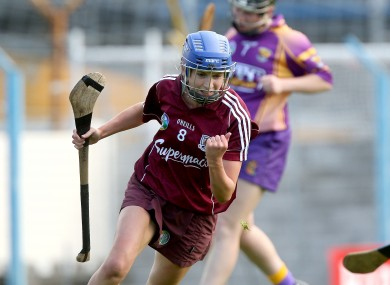 Galway's Niamh Kilkenny celebrates scoring the first goal of the game.