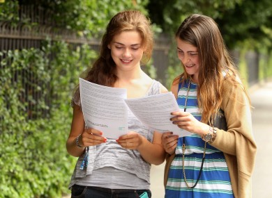 Pictured (LtoR) Michaela Kearney (18) from Cabra and Jenney Keogh (18) look at their results.