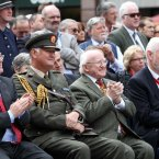 Tanaiste Eamon Gilmore, President Michael D Higgins and Congress General Secretary David Begg.<span class=