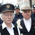 Tram driver Cyril Wall and Terry Fagan act out the scene of Bloody Sunday.<span class=