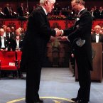 Heaney receiving his Nobel Prize from King Carl Gustaf of Sweden<span class=
