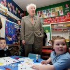 Heaney drops in on a visit to his old school outside Ballaghy in Co Derry in 2007.<span class=
