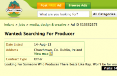 Dubliner advertises for rap producer on Gumtree
