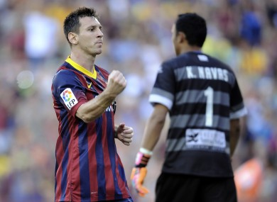 FC Barcelona's Lionel Messi reacts after scoring a penalty against Levante.
